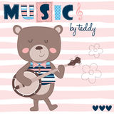 Μουσική από teddy με τη διανυσματική απεικόνιση κιθάρων διανυσματική απεικόνιση