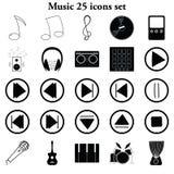 Μουσική 25 απλά εικονίδια καθορισμένα Στοκ φωτογραφία με δικαίωμα ελεύθερης χρήσης