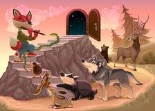 Μουσική για να υπερβεί το φόβο Η αλεπού παίζει το φλάουτο Στοκ φωτογραφία με δικαίωμα ελεύθερης χρήσης