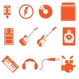 Μουσική εικονιδίων παιχνιδιού ζωνών με το συμπαθητικό πορτοκαλί ύφος χρώματος Στοκ Φωτογραφία