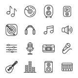 Μουσική και υγιή εικονίδια διανυσματική απεικόνιση