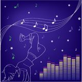 Μουσική και χοροί Σκιαγραφίες του χορού ανθρώπων ελεύθερη απεικόνιση δικαιώματος