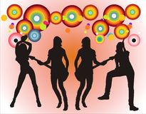 μουσική κοριτσιών ζωνών Στοκ εικόνα με δικαίωμα ελεύθερης χρήσης