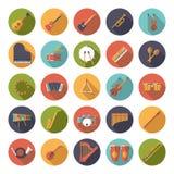 Μουσική οργάνων κυκλική επίπεδη συλλογή εικονιδίων σχεδίου διανυσματική απεικόνιση αποθεμάτων