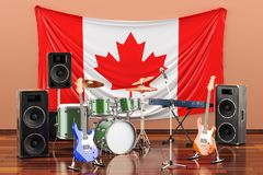Μουσική, ορχήστρες ροκ από την έννοια του Καναδά, τρισδιάστατη απόδοση διανυσματική απεικόνιση
