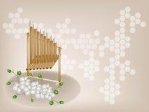 Μουσική ορχιδέα Angklung και φεγγαριών σε καφετί Backgrou Στοκ εικόνα με δικαίωμα ελεύθερης χρήσης