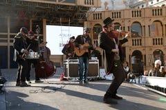 Μουσική παιχνιδιού ζωνών μουσικών στη σκηνή του μεγάλου θεάτρου, Βενετία Γ Στοκ Εικόνες