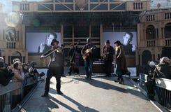 Μουσική παιχνιδιού ζωνών μουσικών στη σκηνή του μεγάλου θεάτρου, Βενετία Γ Στοκ Φωτογραφίες