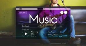 Μουσική που ρέει την οργανική έννοια Playlist Podcast Στοκ Φωτογραφία