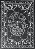 Μουσική ροκ στην καρδιά μου Συρμένο χέρι σχέδιο εγγραφής με το κρανίο Στοκ Εικόνες
