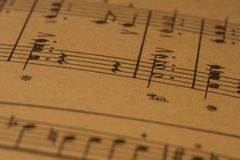 Μουσική σημείωση, ένα αποτέλεσμα πιάνων στοκ φωτογραφίες