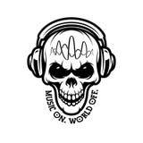 Μουσική στον κόσμο από το κρανίο στα ακουστικά Διανυσματική εκλεκτής ποιότητας απεικόνιση Στοκ Εικόνα