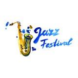 Μουσική της Jazz, πρότυπο υποβάθρου αφισών Saxophone και εγγραφή Watercolor Στοκ Φωτογραφία