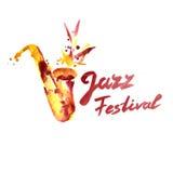 Μουσική της Jazz, πρότυπο υποβάθρου αφισών Saxophone και εγγραφή Watercolor Στοκ φωτογραφία με δικαίωμα ελεύθερης χρήσης