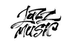 Μουσική της Jazz Σύγχρονη εγγραφή χεριών καλλιγραφίας για την τυπωμένη ύλη Serigraphy Στοκ φωτογραφία με δικαίωμα ελεύθερης χρήσης