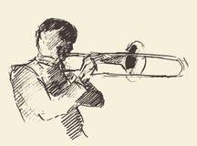 Μουσική τρομπονιών αφισών της Jazz ακουστική απεικόνιση αποθεμάτων