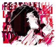 Μουσική Jazz, αμερικανικός τραγουδιστής τζαζ afro Στοκ Εικόνα