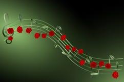 μουσική pentagram με τα κόκκινα τριαντάφυλλα και τα φύλλα στοκ εικόνες