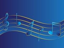 Μουσική pentagram με τα κλειδιά στο μπλε Στοκ Εικόνα