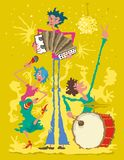Μουσικοί με το ακκορντέον, το τύμπανο και Maracas ελεύθερη απεικόνιση δικαιώματος