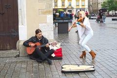 Μουσικοί οδών στην Κρακοβία Στοκ Εικόνες