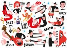 Μουσικοί της Jazz - διανυσματική απεικόνιση Στοκ Εικόνες