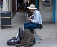 Μουσικός οδών στο Winchester, UK στοκ εικόνες με δικαίωμα ελεύθερης χρήσης