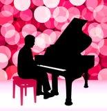 Μουσικός πιάνων στο υπόβαθρο φλογών φακών Στοκ Εικόνες