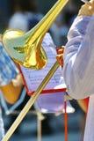 Μουσικός που παίζει τη σάλπιγγα στην ορχήστρα στοκ φωτογραφία με δικαίωμα ελεύθερης χρήσης
