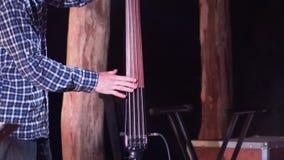 Μουσικός που παίζει contrabass στη σκηνή απόθεμα βίντεο