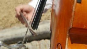 Μουσικός που παίζει contrabass απόθεμα βίντεο