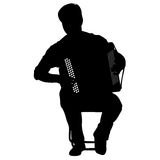 Μουσικός σκιαγραφιών, φορέας ακκορντέον στο άσπρο υπόβαθρο, διανυσματική απεικόνιση απεικόνιση αποθεμάτων