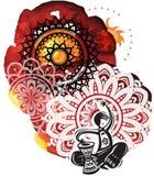 Μουσικός στο υπόβαθρο από τα splatters watercolor και τον κύκλο patte Στοκ Εικόνες