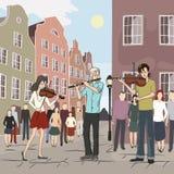 Μουσικός όχλος λάμψης στην παλαιά πόλη Στοκ Εικόνα