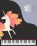 Μουσικό έμβλημα στο διάνυσμα Μαγικός μονόκερος με το Μάιν με μορφή φύλλων φθινοπώρου στο υπόβαθρο του μαύρου μεγάλου πιάνου Διάστ διανυσματική απεικόνιση