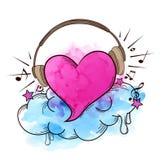 Μουσικό αναδρομικό υπόβαθρο με την καρδιά απεικόνιση αποθεμάτων