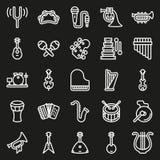 Μουσικό εικονίδιο οργάνων που τίθεται στο μαύρο υπόβαθρο Στοκ Εικόνες