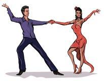 μουσικό διάνυσμα απεικόνισης χορού ζευγών Στοκ Εικόνες