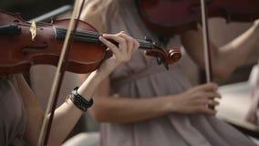 μουσικό κουαρτέτο παιχνιδιού οργάνων παιδιών Παιχνίδια βιολιστών ενάντια στον ουρανό κλείστε επάνω απόθεμα βίντεο