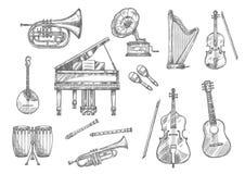 Μουσικό σκίτσο οργάνων του κλασικού, μουσική τζαζ Στοκ εικόνα με δικαίωμα ελεύθερης χρήσης