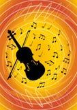 Μουσικό σχέδιο ιπτάμενων με τη μαύρη σκιαγραφία βιολιών και μουσικές νότες για το ζωηρό αφηρημένο πορτοκάλι bakcground μουσικός διανυσματική απεικόνιση