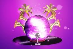 Μουσικό υπόβαθρο με τη βινυλίου σφαίρα αρχείων και disco Κόμμα νύχτας στον αέρα Στοκ Εικόνες