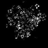 Μουσικό υπόβαθρο με τις καρδιές για το σχέδιο ημέρας βαλεντίνων ` s Στοκ Φωτογραφία