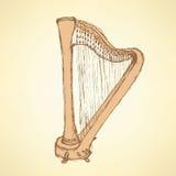 Μουσικό όργανο αρπών σκίτσων απεικόνιση αποθεμάτων