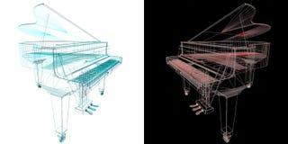 Μουσικό όργανο πληκτρολογίων Τυποποιημένο μεγάλο πιάνο Μουσικός emble Στοκ Εικόνα