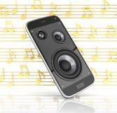 Μουσικό app τηλεφωνικής μουσικής smartphone κινητό κινητό τηλέφωνο και μεγάφωνα με τις σημειώσεις για το άσπρο υπόβαθρο τρισδιάστ ελεύθερη απεικόνιση δικαιώματος