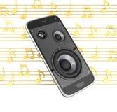 Μουσικό app τηλεφωνικής μουσικής smartphone κινητό κινητό τηλέφωνο και μεγάφωνα με τις σημειώσεις για το άσπρο υπόβαθρο τρισδιάστ διανυσματική απεικόνιση