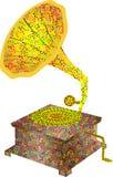 Μουσικό gramophone οργάνων Απεικόνιση gramophone από τις μουσικές νότες και ένα τριπλό clef διανυσματική απεικόνιση