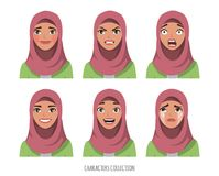Μουσουλμανική νέα γυναίκα που φορά hijab συγκινήσεις που τίθεντ&alp απεικόνιση αποθεμάτων