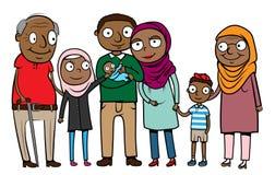 Μουσουλμανική που έχουν μεταναστεύσει οικογένεια κινούμενων σχεδίων Στοκ Εικόνα
